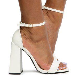 NEW! Liliana Chunky Heel w/ Strap in White